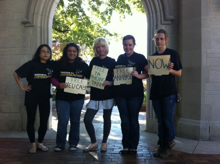 Friends at Indiana University and I before the trial of the bloggers in September 2012