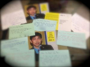 These are some of the cards sent on behalf of Thuc