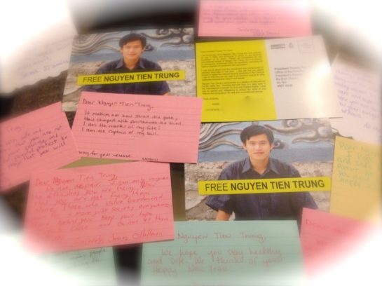 Cards provided by Amnesty International pair well with handwritten words of encouragement